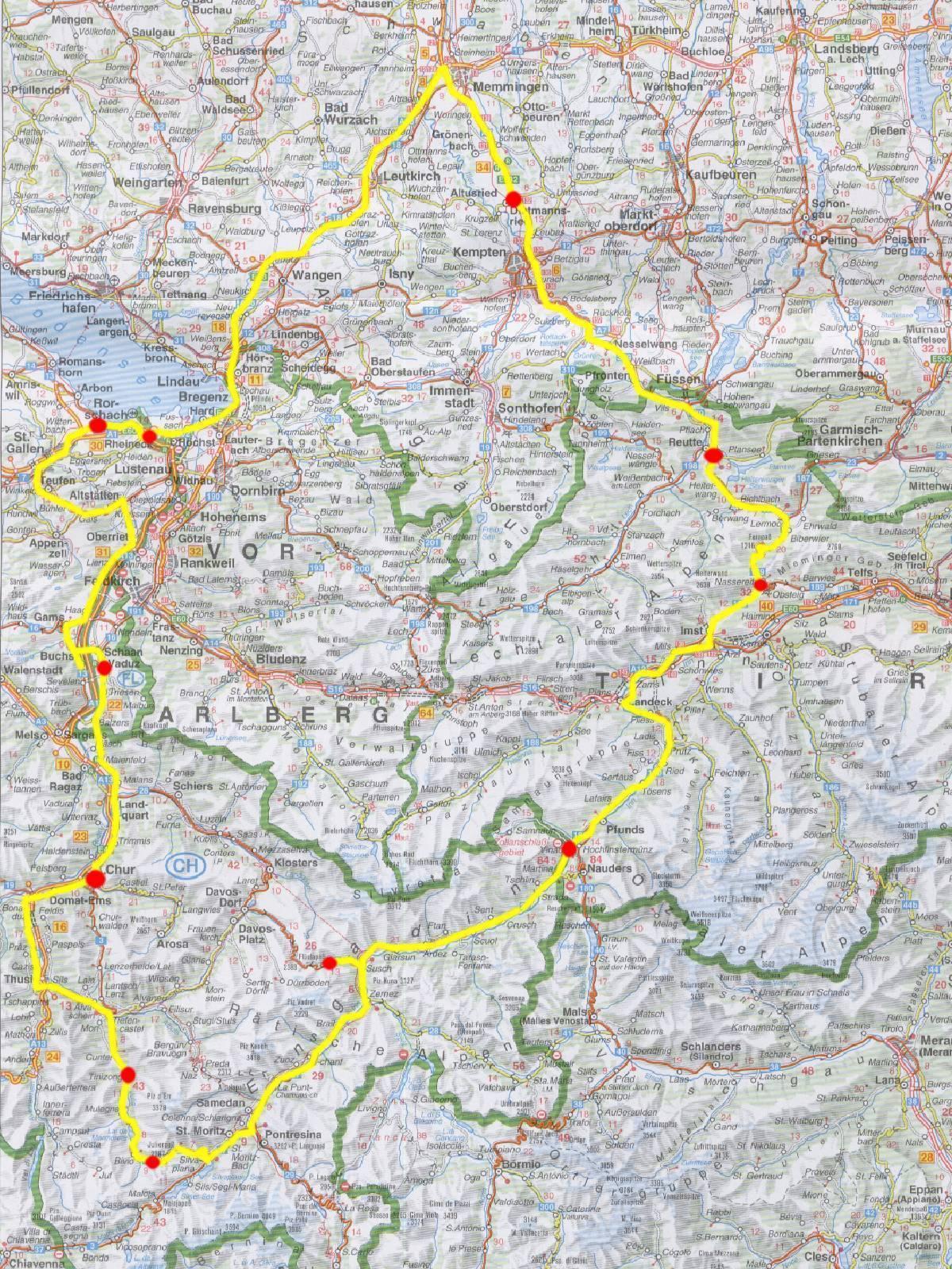 Vorarlberg Karte Berge.Schweiz